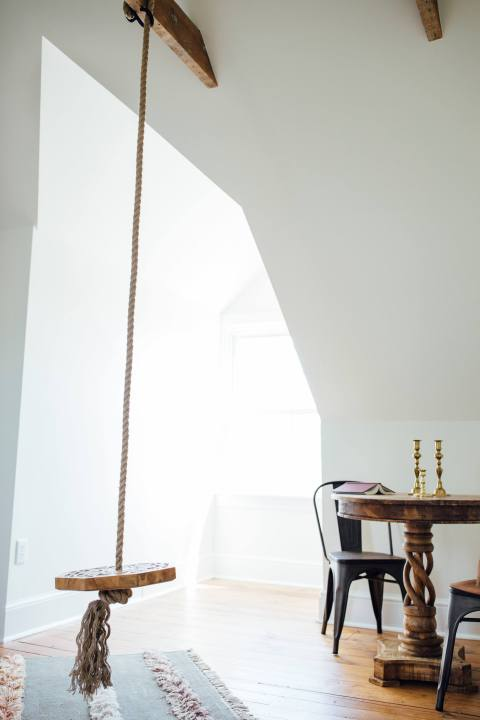 Hanging Swing in Renovated Attic