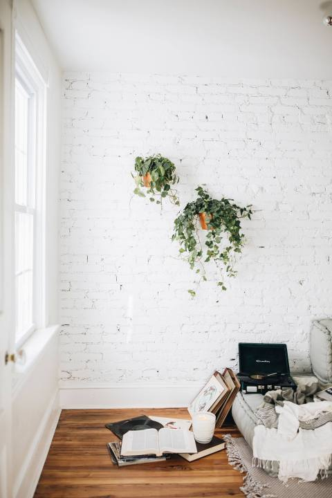 White Brick and Hanging Plants