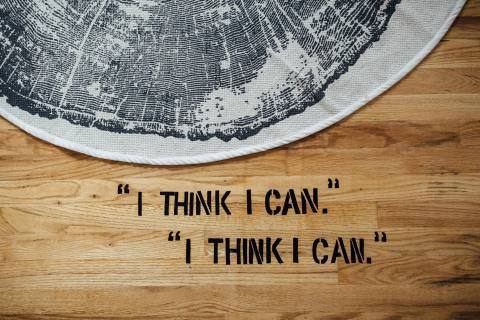 Creative Stencils on Hardwood Floor