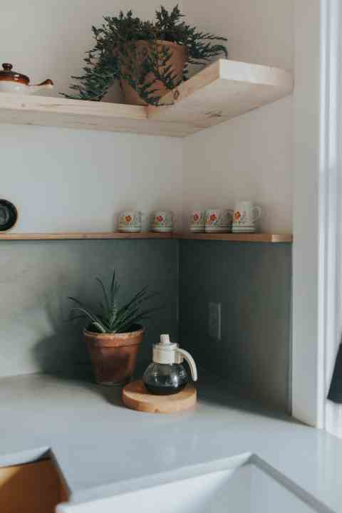concrete countertops and shelving