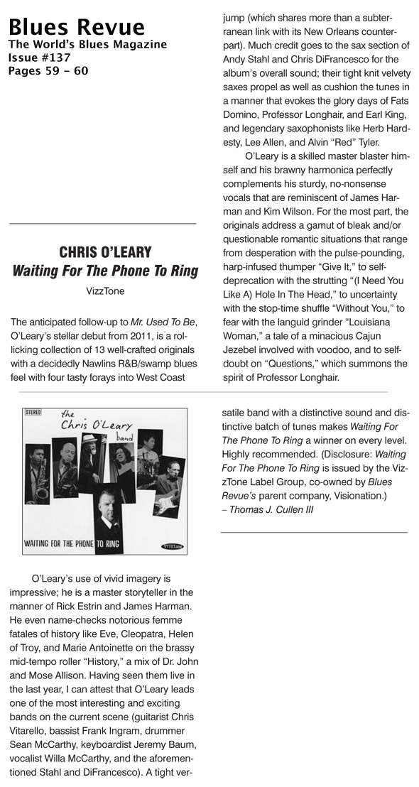 Blues Revue Magazine Review of Waiting for the Phone to Ring