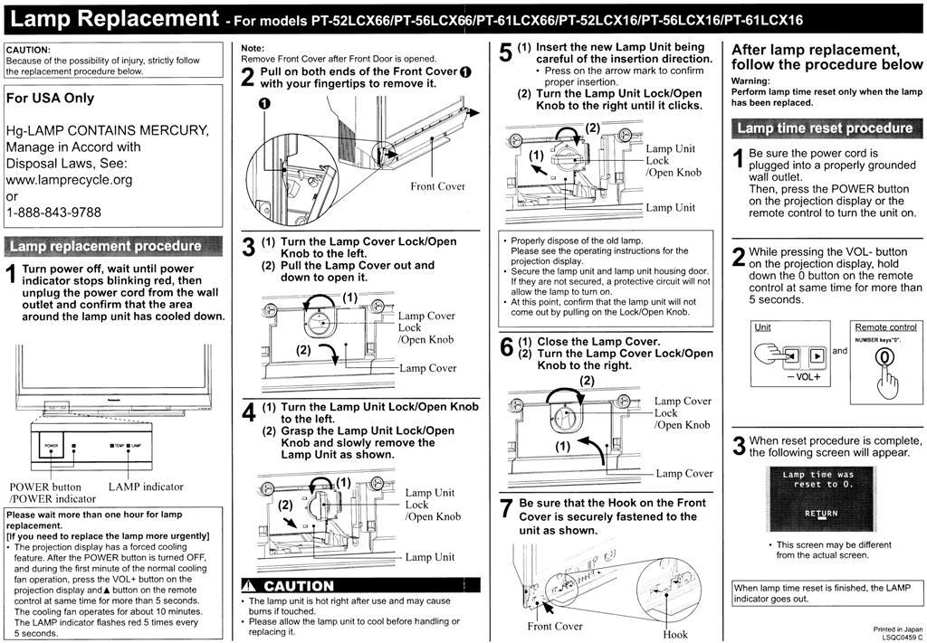 Panasonic Projection Tv Lamp Timer Reset