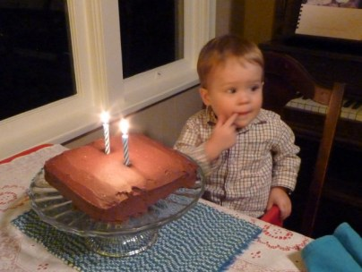 """Miles's reaction to seeing his cake was to simultaneously sign and say """"eat, eat!"""""""
