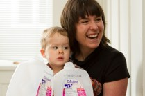 The milk jugs were the most popular toy at the party!