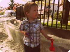 At the playground, looking handsome
