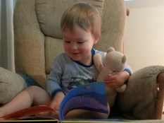 "Reading ""A wocket in my pocket"" to baby bear"