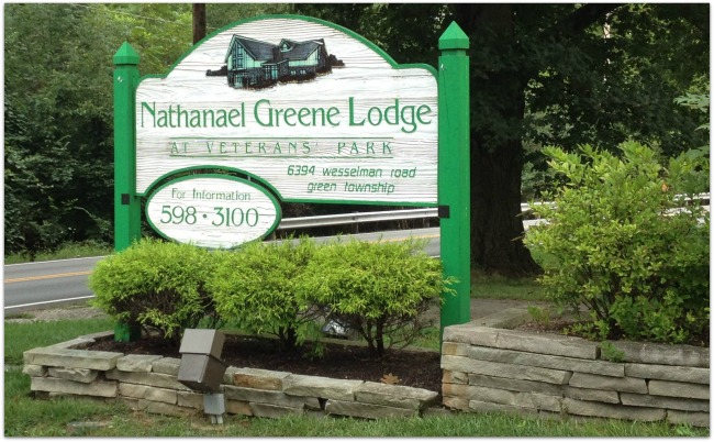 Nathaneal Greene Lodge Welcome Sign