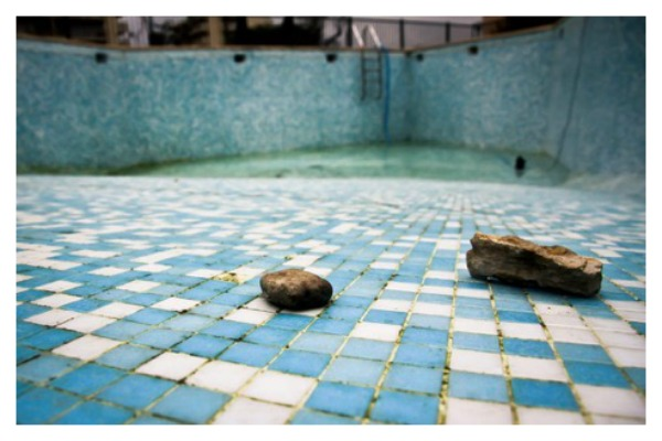 pool drained of water