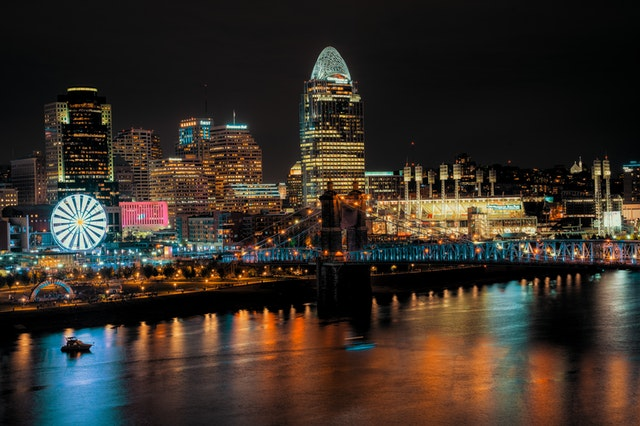 The Cincinnati night panorama with shining lights and their reflection on the river.