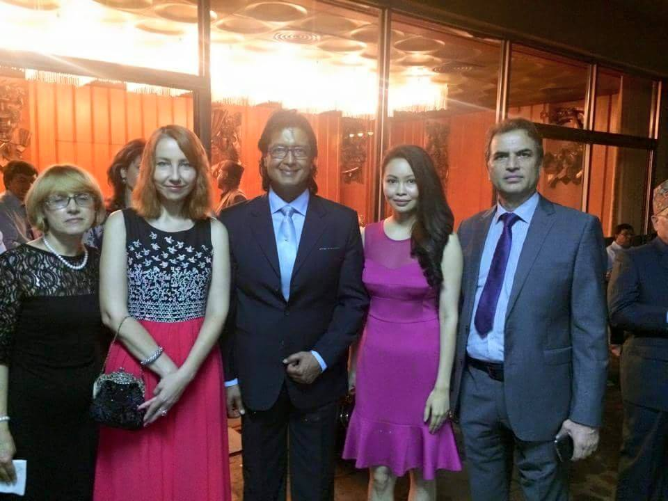 Rajesh Hamal and his wife at Russian embassy  - thecinematimes.com