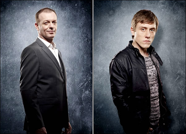 A gauche : Hugo Speer reprend son rôle de Warren Bettany, le propriétaire de Bedlam A droite : Jack Roth jouera Max, un passionné de surnaturel