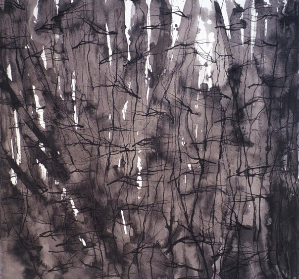 Forest 1, sumi ink painting on paper in original color and size