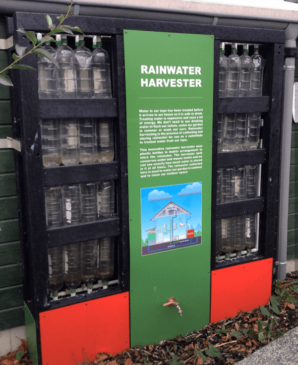 A rainwater harvester in The Rediscovery Centre. Photo Credit: Ciara Margolis