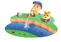 Character jumping over a river in the game Animal Crossing New Horizons