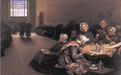 A 1878 painting by Hubert von Herkomer depicting a scene from inside the Westminster Union workhouse.