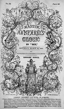 Cover of an 1840 serial of Master Humphrey's Clock.