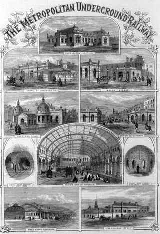 Montage of the Metropolitan Railway's stations, published in  the Illustrated London News in December 1862, the month before the railway opened.