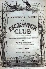 Original cover Cover of the serial, 'Pickwick Club' issued in 1836.