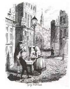 The Streets, Morning, illustration by George Cruikshank for Sketches by Boz