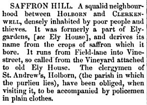Description of Saffron Hill from London guide published in 1850.