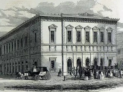 Exterior of the original Liverpool Philharmonic Hall, from 1849.