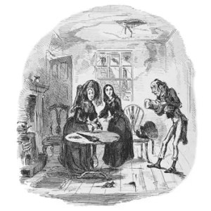 Illustration by 'Phiz' from the original publication of Nicholas Nickleby showing Newman Noggs with Kate Nickleby and her mother.