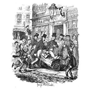 Sketch produced by George Cruickshank for The Hospital Patient, showing the scene of a pickpocket being carted off to the Police Station.