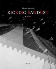 Picture shows the book's front cover, a black and white photo of a striped canvas tent in snow or rain, so close as to almost appear abstract. The title of the book is printed in shining red and white letters with tiny matching stars underneath.