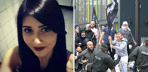 """Who represents Muslims in Germany? An integrated German-Turkish woman such as Tuğçe Albayrak, who defends other women (left), or the small group of supporters of the """"Islamic State?"""""""