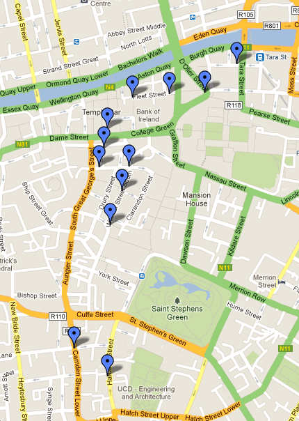 Map of the 12 pubs route