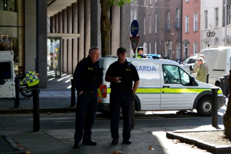 Armed Garda at the protest