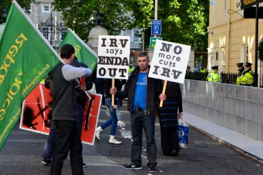IRV protesters outside the Dáil