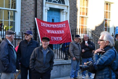 Members of the Independent Workers Union protesting