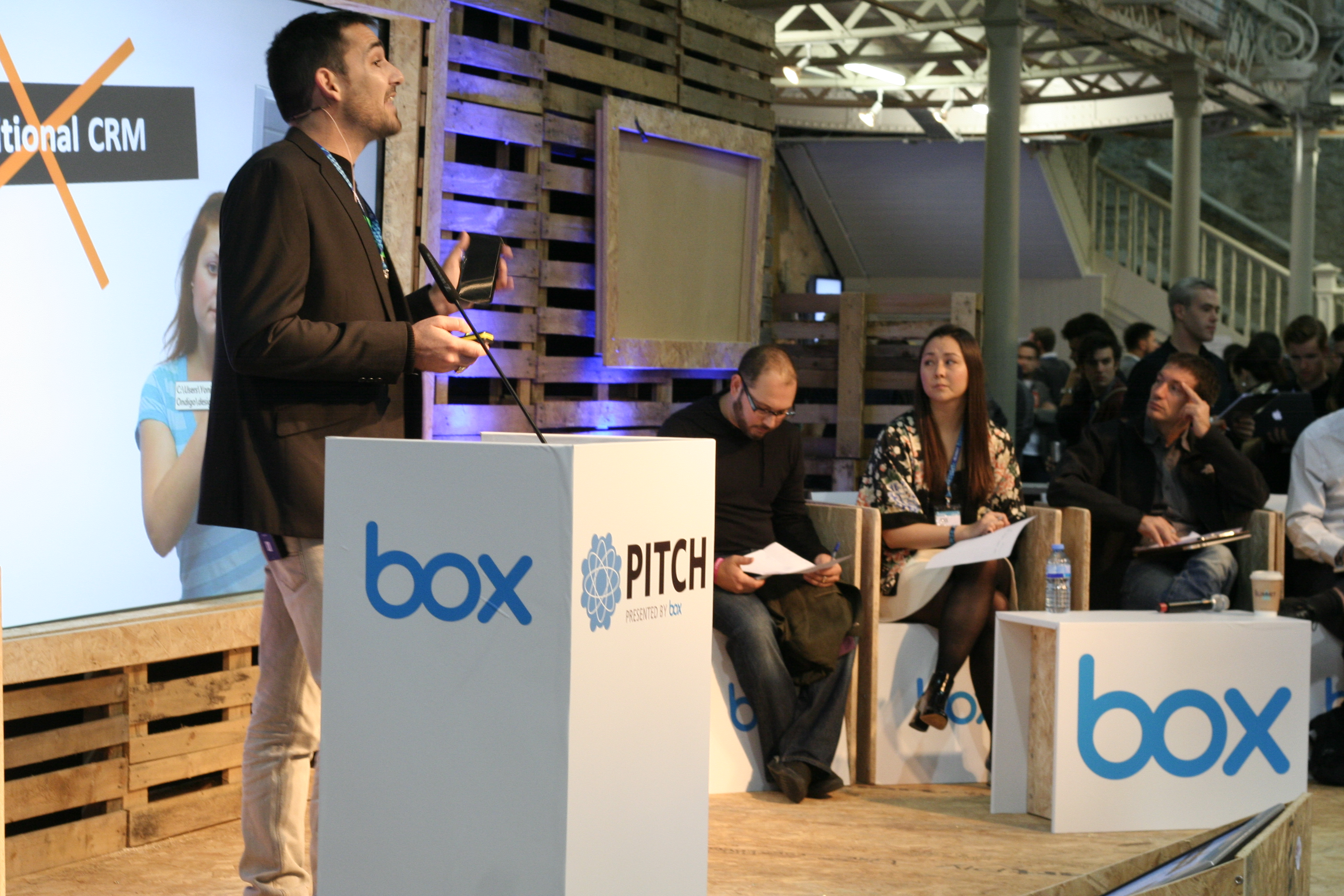 Companies pitching their ideas to investors