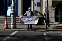 One of the earlier protesters outside the Dáil