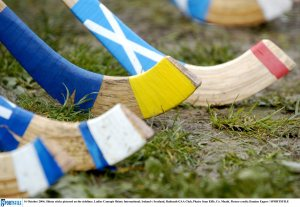 Shinty sticks pictured on the sidelines. Picture credit: Damien Eagers/SPORTSFILE