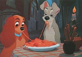 Spaghetti doggie style. Disney's Lady and the Tramp. Photo by Little Tulip (Flickr)