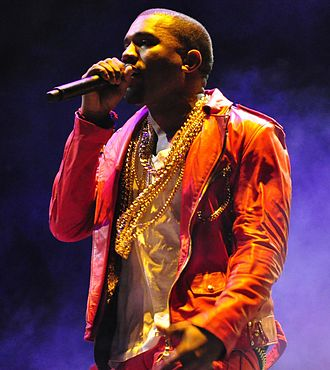 Kanye West performing at Lollapalooza in 2011. Picture by Wikipedia.