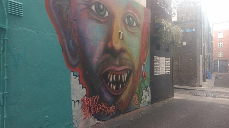 Kevin Bohan's portrait of Shane MacGowan on Bedford Lane, image by Hannah Lemass