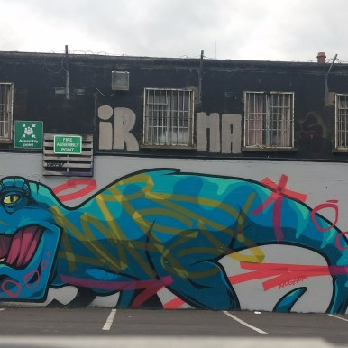 Graffiti dinosaur in the Tivoli theater carpark, image by Hannah Lemass