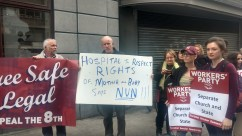 Demonstrators gather at the Department of Health, image by Hannah Lemass