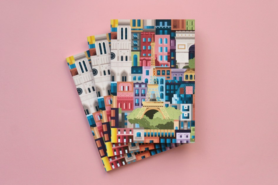 Paris Notebook Stack Pink by The City Works