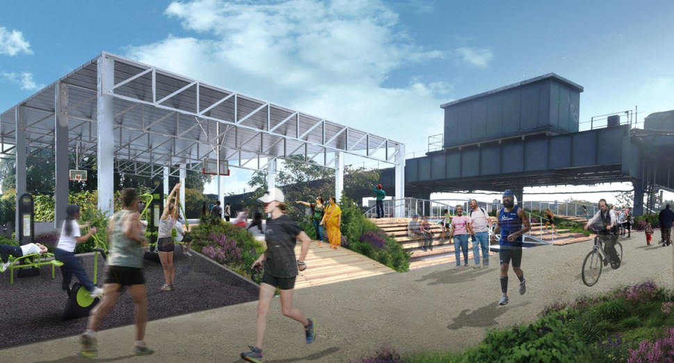 At the southern section near Rockaway Boulevard, proposed features include exercise and environmental education stations. (Image: QueensWay)