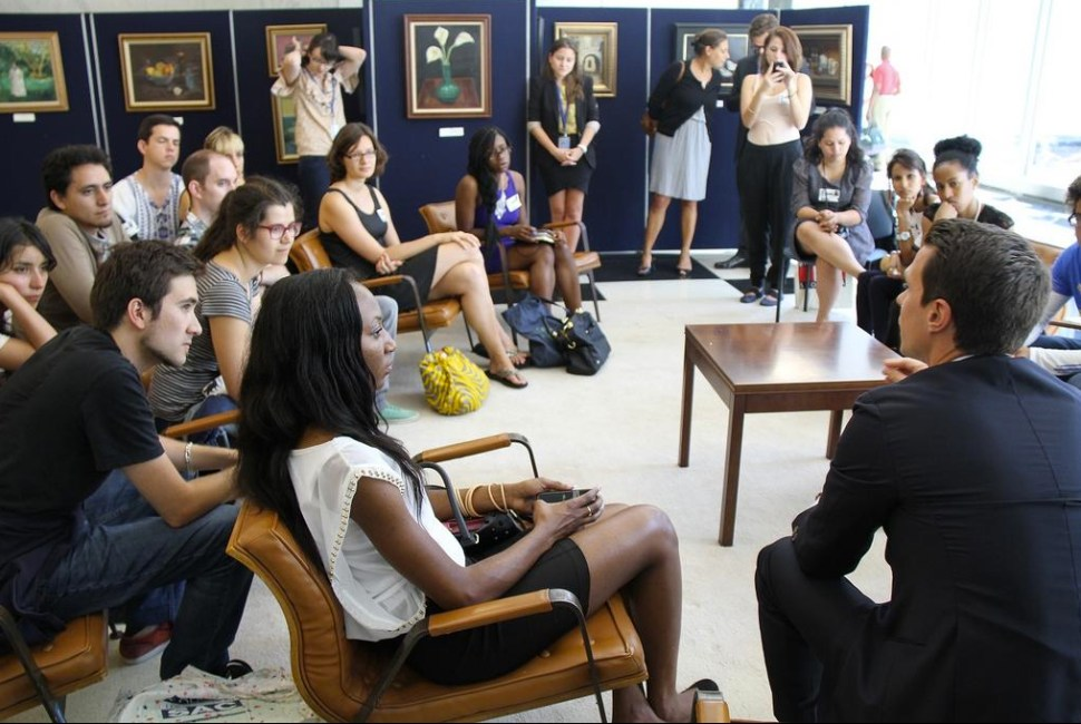 CliMates participants meet French climate diplomat Adrien Pinelli at the French Mission to the UN (Ph: CliMates)