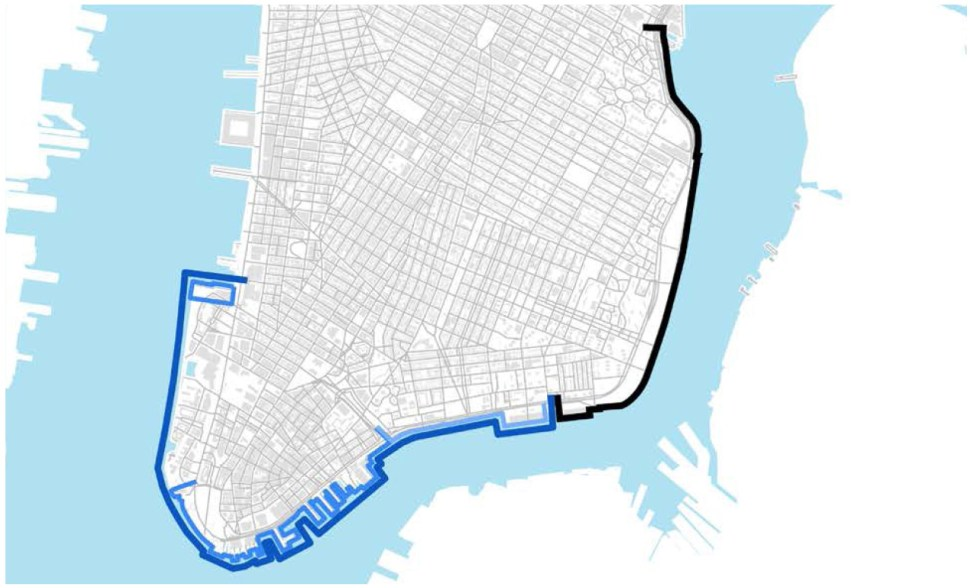 The black line traces the East Side Coastal Resiliency project; The blue lines trace the components of the Lower Manhattan Coastal Resiliency project. (LMCR)