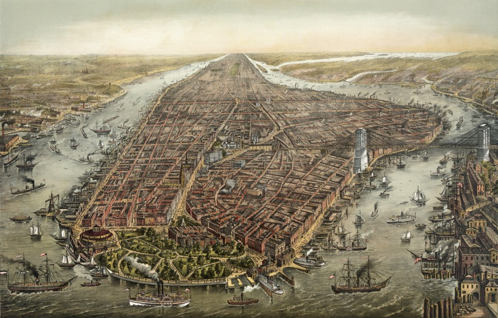 G. Schlegel, Birdseye View of Manhattan, 1873 (Wikipedia) Full res version