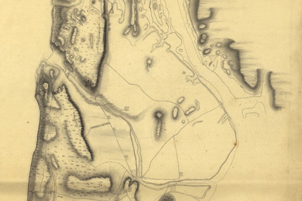 A military map from 1778 shows channels and wetlands between Manhattan and the Bronx. (Library of Congress)