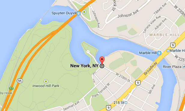 Northern Manhattan today, with Muscota Park marked. (Google)