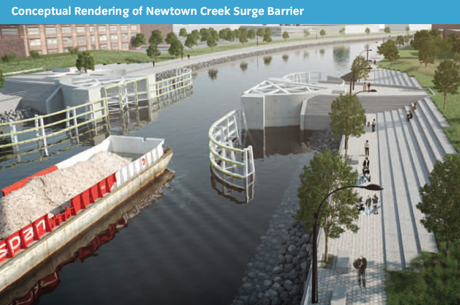 A proposed surge barrier for a revitalized Newtown Creek. (Image: SIRR)
