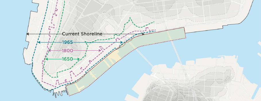 Seaport City study area shown in dotted lines. (Via NYCEDC/Arcadis.)